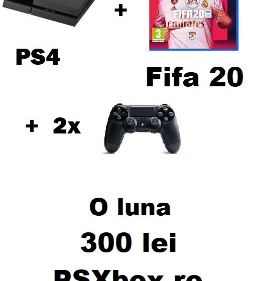 Pachet inchiriere PS4 + 2 Controllere + Fifa 20 300 de lei- o luna - PSXbox.ro Inchirieri console Video PS4 si Xbox Bucuresti