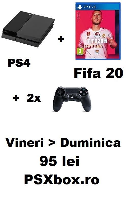 Pachet inchiriere PS4 + 2 Controllere + Fifa 20 95 de lei - PSXbox.ro Inchirieri console Video PS4 si Xbox Bucuresti