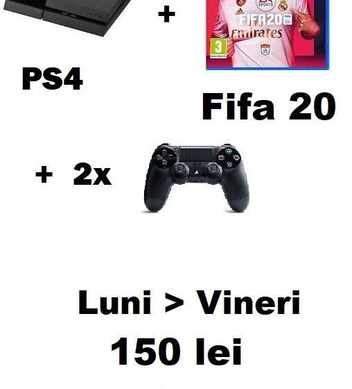 Pachet inchiriere PS4 + 2 Controllere + Fifa 20 150 de lei - PSXbox.ro Inchirieri console Video PS4 si Xbox Bucuresti